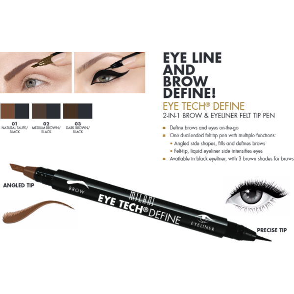 Contur De Ochi Milani Eye Tech Define 2 in 1 Brow+Eyeliner Felt Tip Pen Medium Brown/Black