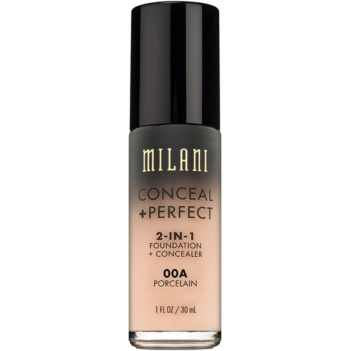 fond de ten + corector milani conceal + perfect 2 in 1 foundation + concealer porcelain - 00a
