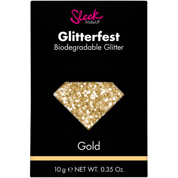 Sleek MakeUP Glitter Biodegradabil Sleek Glitterfest Gold