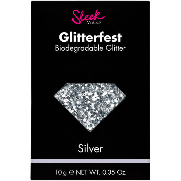 Sleek MakeUP Glitter Biodegradabil Sleek Glitterfest Silver