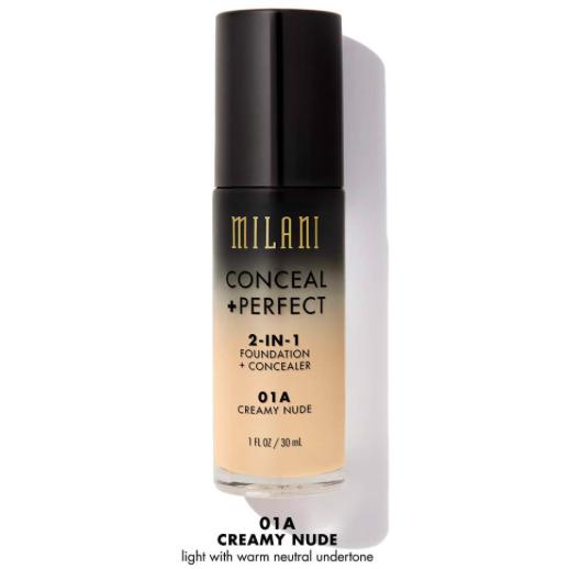 Fond De Ten + Corector Milani Conceal + Perfect 2 in 1 Foundation + Concealer - Creamy Nude - 01
