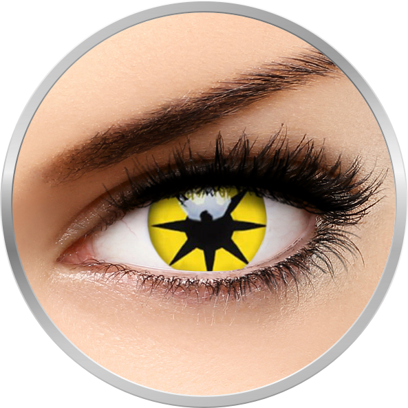 ColourVUE Crazy Yellow Star - lentile de contact colorate galbene anuale - 360 purtari (2 lentile/cutie)