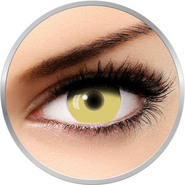Auva Vision Fantaisie UV Glow Yellow - lentile de contact Crazy pentru Halloween anuale - 365 purtari (2 lentile/cutie)