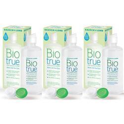 Solutie intretinere lentile de contact Biotrue 3 x 300 ml + suport lentile cadou