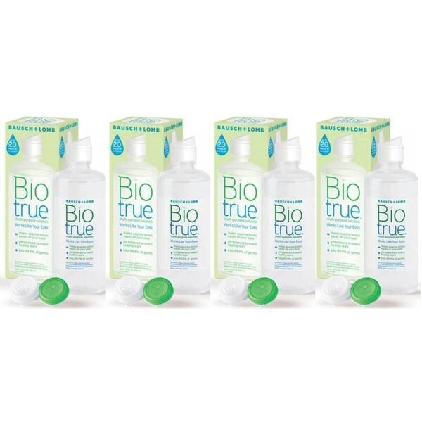 Bausch & Lomb Solutie intretinere lentile de contact Biotrue 4 x 300 ml + suport lentile cadou