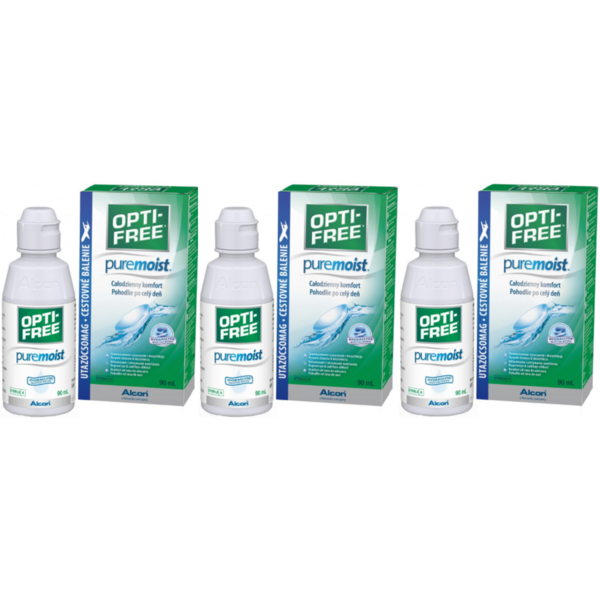 Alcon / Ciba Vision Solutie intretinere lentile de contact Opti-Free Pure Moist 3 x 90 ml + suport lentile cadou
