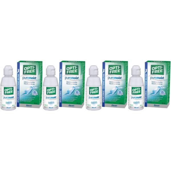 Alcon / Ciba Vision Solutie intretinere lentile de contact Opti-Free Pure Moist 4 x 90 ml + suport lentile cadou